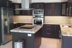 Modern dark cabinetry after kitchen remodel in Lake Worth